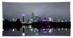 Dallas Texas Cityscape River Reflection Beach Towel