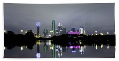 Dallas Texas Cityscape River Reflection Beach Towel