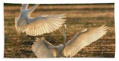 Dancing Egrets  Beach Towel