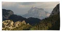 Beach Towel featuring the photograph Dappled Light On Pena Montanesa by Stephen Taylor