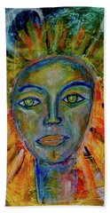 Beach Towel featuring the painting Daughter Of The Sun And Moon by Mimulux patricia No
