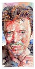 David Bowie Portrait Beach Towel
