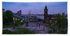 Dawn Over The Port And City Hamburg Panorama Beach Sheet