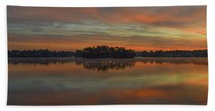 Beach Towel featuring the photograph December Sunrise Over Spring Lake by Beth Sawickie