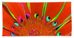 Deep Coral Bloom  Beach Sheet
