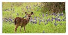Deer In The Bluebonnets Beach Towel