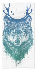 Deer Wolf Beach Towel
