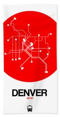 Denver Red Subway Map Beach Towel