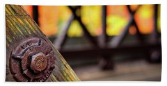 Beach Towel featuring the photograph Details On A Covered Bridge by Jeff Sinon