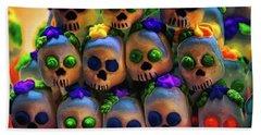 Beach Towel featuring the photograph Dia De Los Muertos Candy Skulls 2 by Tatiana Travelways