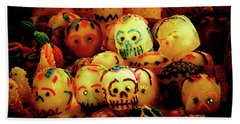 Beach Towel featuring the photograph Dia De Los Muertos Candy Skulls by Tatiana Travelways