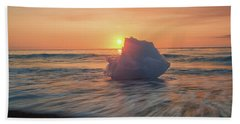 Beach Towel featuring the photograph Diamond Beach Sunrise Iceland by Nathan Bush