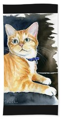 Diego Ginger Tabby Cat Painting Beach Sheet