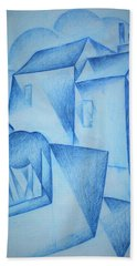 Digital Remastered Edition - Houses In Paris, Place Ravignan - Original Blue Beach Towel