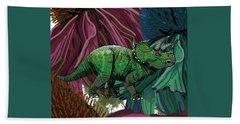 Dinosaur Triceratops Flowers Beach Towel