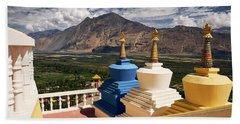 Beach Towel featuring the photograph Diskit Gompa by Whitney Goodey