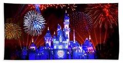 Disneyland 60th Anniversary Fireworks Beach Towel