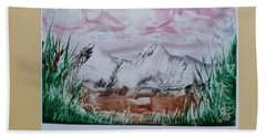 Distant Impressionistic Mountains Beach Towel