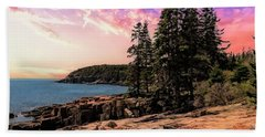 Distant View Of Otter Cliffs,acadia National Park,maine. Beach Sheet