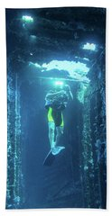 Diver In The Patris Shipwreck Beach Towel