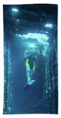 Beach Towel featuring the photograph Diver In The Patris Shipwreck by Milan Ljubisavljevic
