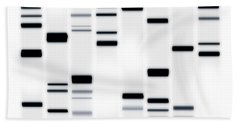 Dna Art Black On White Beach Towel