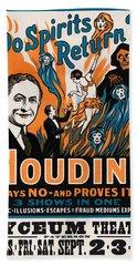 Do Spirits Return? Houdini Says No - Vintage Magic Poster Beach Towel