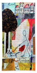 Beach Towel featuring the mixed media Doggie Walk by Mimulux patricia No