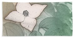 Dogwood Flower Stencil On Sandstone Beach Towel