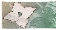 Dogwood Flower Stencil On Sandstone Beach Towel