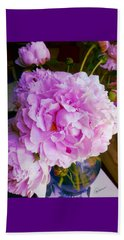 Beach Towel featuring the photograph Double Peonies by Elly Potamianos