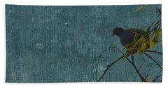 Beach Towel featuring the photograph Dove In Blue by Attila Meszlenyi