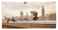 Doves And Seagulls Over The Thames In London Beach Towel