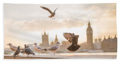 Beach Towel featuring the photograph Doves And Seagulls Over The Thames In London by Top Wallpapers
