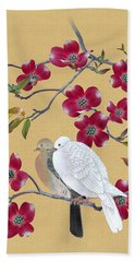 Doves In Red Dogwood Tree Beach Towel