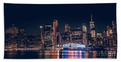 Downtown At Night Beach Towel