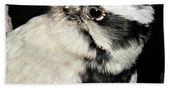 Downy Woodpecker Female Beach Towel