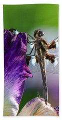 Dragonfly On Iris Beach Towel