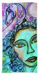 Beach Towel featuring the mixed media Dreams Are Free by Mimulux patricia No