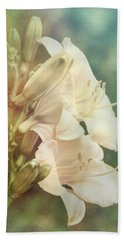 Beach Towel featuring the photograph Dreamy Lilies by Leda Robertson