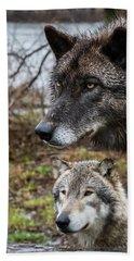 Dual Wolves Beach Towel