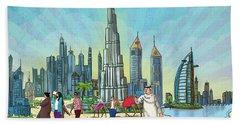 Dubai Illustration  Beach Towel