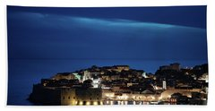 Beach Towel featuring the photograph Dubrovnik Old Town At Night by Milan Ljubisavljevic
