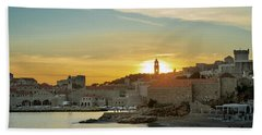 Beach Towel featuring the photograph Dubrovnik Old Town At Sunset by Milan Ljubisavljevic