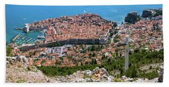 Beach Towel featuring the photograph Dubrovnik Panorama From The Hill by Milan Ljubisavljevic