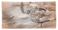 Ducks On Shore Da Vinci Beach Towel