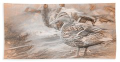 Ducks On Shore Da Vinci Beach Towel