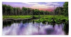 Dusk Falls Over New England Beaver Pond. Beach Towel