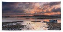 Dusky Pink Sunrise Bay Waterscape Beach Towel