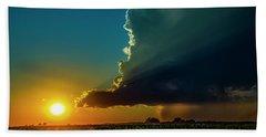 Dying Nebraska Thunderstorms At Sunset 068 Beach Towel